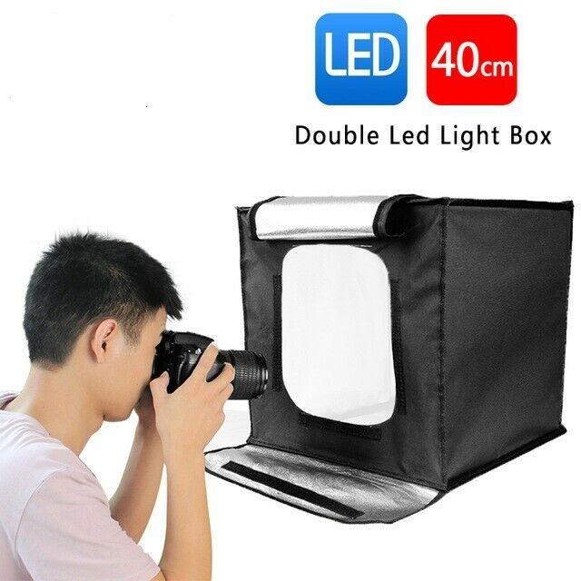 40x40cm Portable Photo Studio Lighting Mini Softbox Dimmable Double Led Light Box Photography Backdr