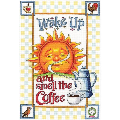 NEW Morning 2014 Janlynn SMELL THE COFFEE Counted Cross Stitch Kit SUNSHINE