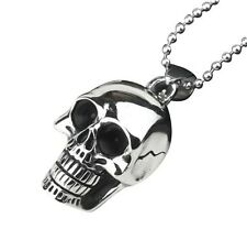 Skull Pendant Silver 3D Bone Punisher Chain Fashion Stainless Metal Necklace