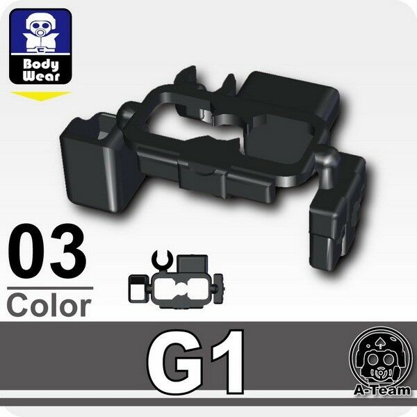 Custom Tactical Pistol Belt G1 black compatible with LEGO® minifigures