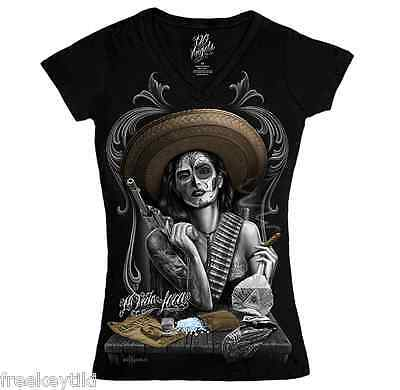 Mi Vida Loca Dia de Los Muertos Day of the Dead DGA Rebel Bandida Top T-Shirt