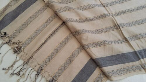 BNWT-Long-Soft Light Weight-Beige// Black//Gold Stripe Scarves-L 190  x W 50 cm