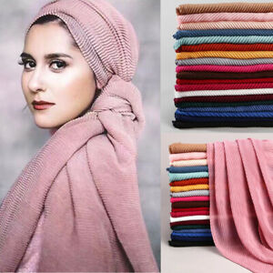 Women-Ladies-Twill-Wrinkle-Long-Scarf-Muslim-Hijab-Arab-Wrap-Shawl-Headwear