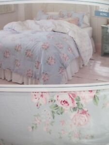 Simply Shabby Chic Blue White Pink Rose Floral Comforter Set