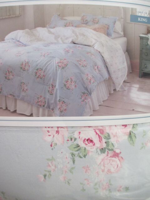 Simply Shabby chic White Rose Pink Reversible Florals Full  Queen QUILT