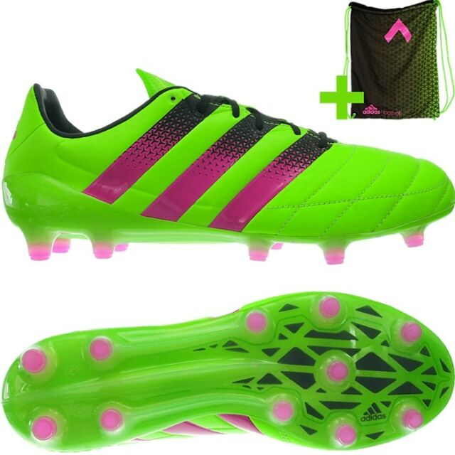 official photos d7c14 54f30 Adidas ACE 16.1 FG/AG LEA green Leather Soccer Boots Shoes Studs NEW