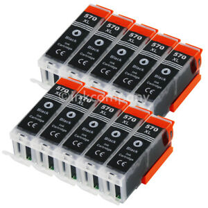 10-Tintenpatrone-Druckerpatrone-kompatibel-zu-CANON-PGI-570-XL-BK-black-mit-Chip