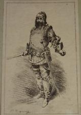 Frédéric REGAMEY (1849-1925 EAU FORTE ORIGINALE COSTUME THEATRE RENAISSANCE 1873