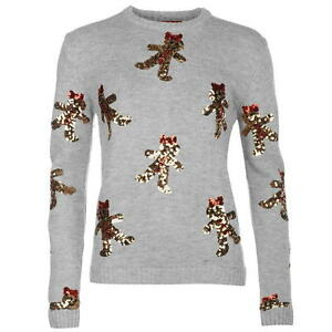 Gingerbread Man Jumper Knitting Pattern : LADIES WOMENS STAR GREY CHRISTMAS XMAS GINGERBREAD MAN KNITTED JUMPER SWEATER