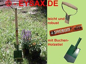 Gartenspaten Spaten mit Buchen-Holzstiel und D-Griff SPITZBLATT !