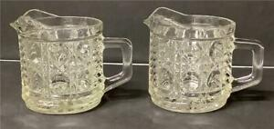 2 Vintage Federal Glass Windsor Button & Cane Creamers Cream Pitchers Clear
