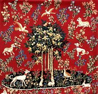 """MILANI TREE OF LIFE ANIMALS COTTON TAPESTRY CUSHION COVER 19"""" RED"""