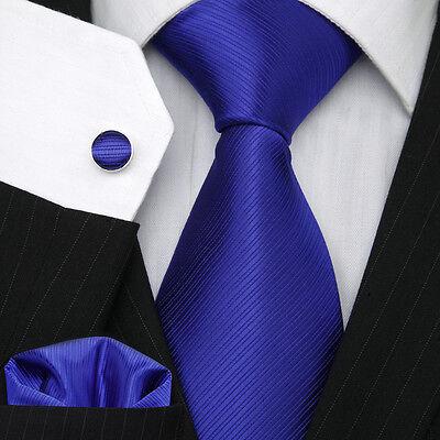 Men's Excellent Quality Necktie Blue Wedding Twill Tie Set UK Stock