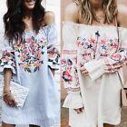 donna spalla scoperta Boho party mini abito maglia sexy estate Larga Maglia UK