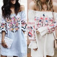 Womens Off Shoulder BOHO Party Mini Dress Blouse Sexy Summer Loose Shirt Tops UK