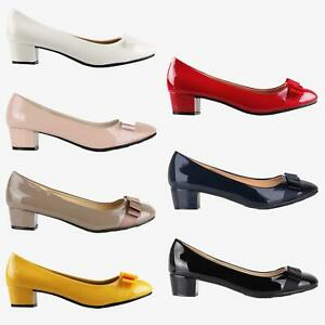 Womens-Patent-Ballerina-Bow-Flats-Low-Block-Heel-Court-Shoes-Party-Casual-Pumps