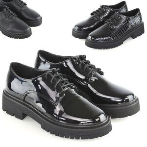 Para-mujeres-Zapatos-con-cordones-de-Negro-de-Cuero-Sintetico-Damas-Informal-Trabajo-Cuero-Calado
