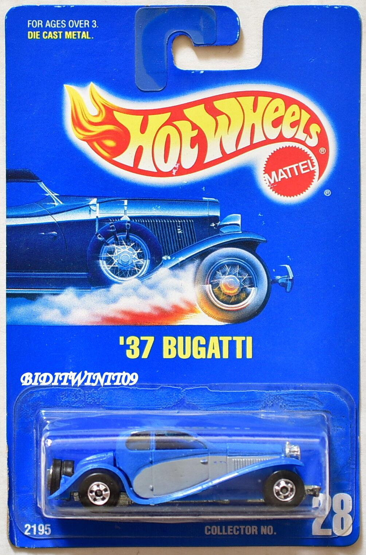 HOT WHEELS 1991 blueE CARD '37 BUGATTI W  BASIC WHEELS W+