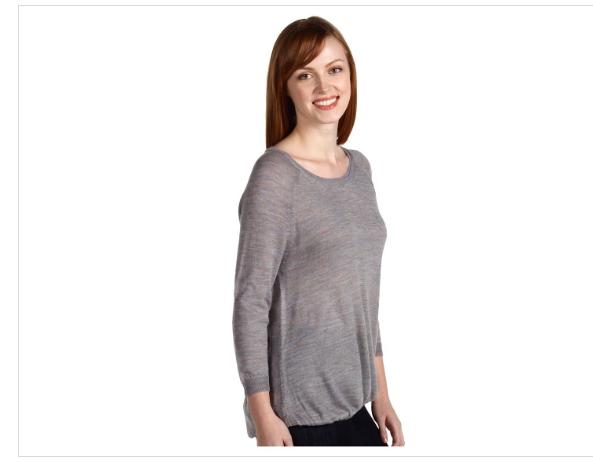 Theory Leysha Sheer melange fabric 3 4 Sleeve Sleeve Sleeve Grey Alpaca Wool Sweater Shirt L abf006