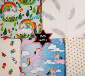 PATCHWORK-NEW-FABRIC-Unicorn-100-Cotton-Horse-Magic-POPLIN-Material-Quilting