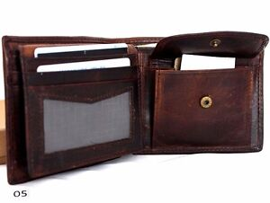 Men/'s Real Soft Leather Wallet 2 Bill Compartments 6 Credit Card slots id Window