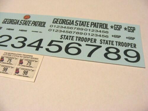 Georgia State Trooper K-9 1//24 Water slide Decal Set Fits Model Police Vehicles
