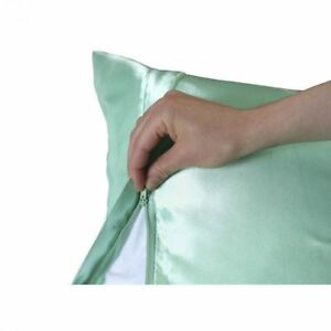 Luxury-Satin-Pillowcase-with-Zipper-Standard-Size-Silky-Pillow-Case-for-Hair