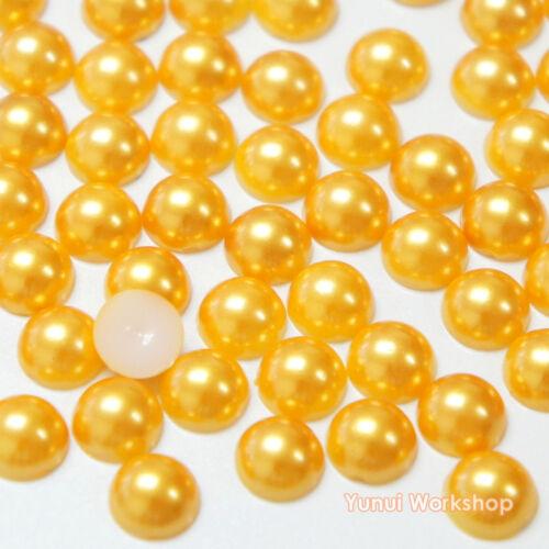 Gold (1.5mm - 12mm) Flatback Half Pearl Round Scrapbooking Nail Art Craft