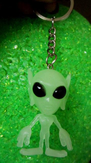 NORA WINN UNIQUE Alien outer space Key chain Glow  in the Dark Halloween W/Ears