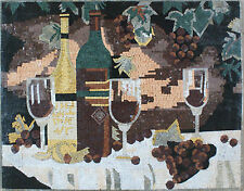 Cheese & Wine Bottle Glass Grapes Nature Night Table Top Marble Mosaic GEO2236