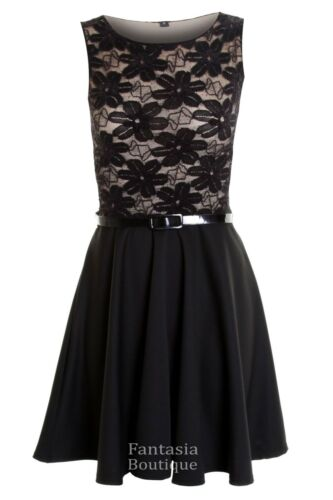 Ladies Sleeveless Belted Sequin Lined Floral Lace Women/'s Skater Dress