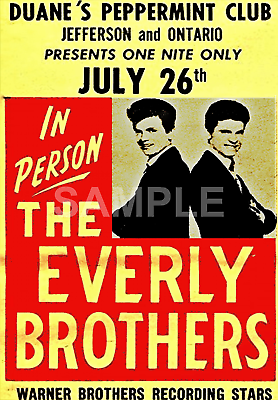 Wall art. Vintage advertising Reproduction poster Everly Brothers