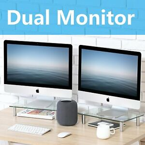 2 Pack Computer Monitor Riser Fit Dual Screens Office Workstation Organizer