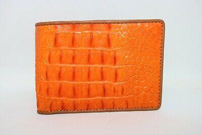 Genuine Crocodile Alligator Skin Leather Men/'s Bifold Wallet Orange
