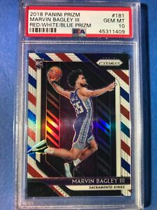 2018-19 Panini Red White Blue Prizm #181 Marvin Bagley III RC Rookie PSA 10
