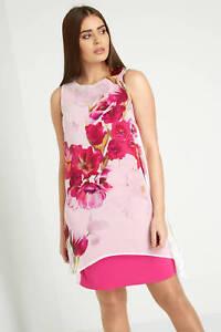 45f886374214 Roman Originals Women's Pink Floral Print Chiffon Overlay Dress ...
