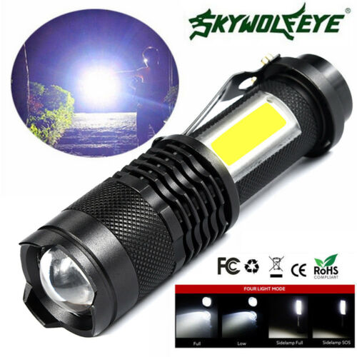 Zoomable Flashlight COB+Q5 LED Tactical Torch Waterproof Super Bright Light Lamp