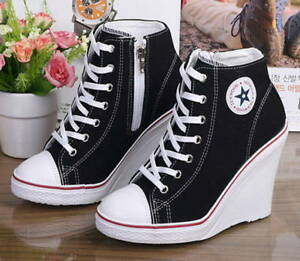 63f022db3167 New Women Casual High Top Canvas Wedges Shoes High Heel Lace Up ...