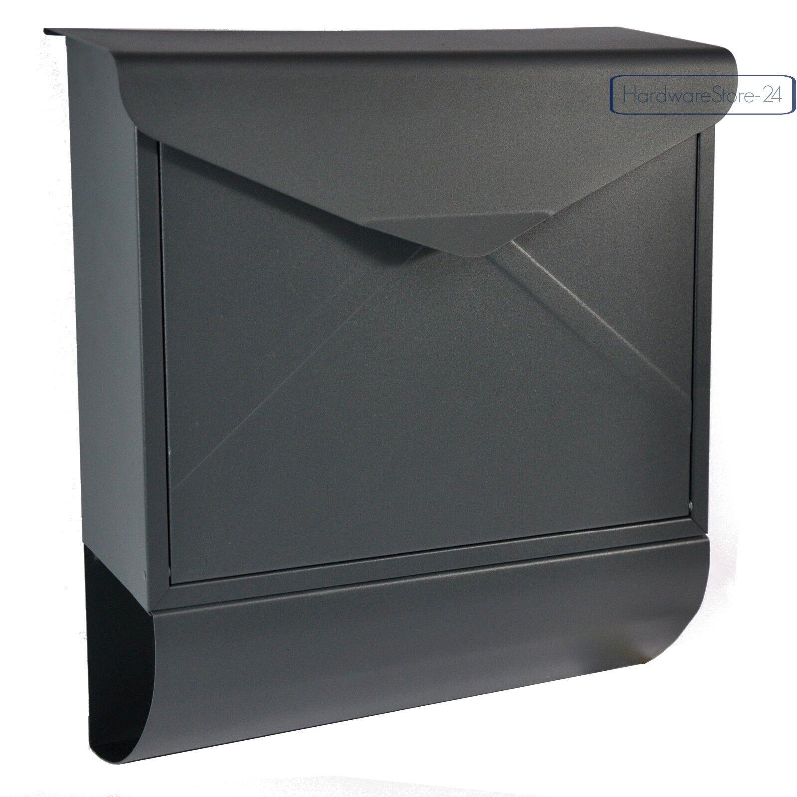Designer Briefkasten Wandbriefkasten Postkasten Zeitungsrolle anthrazit RAL 7016