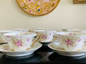 Antique Theodore Haviland Limoges Set of 8 Cups and Saucers