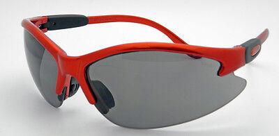 6 Pairs Contender Safety Glasses Smoke Lens Orange Frame ANSIZ87.1 UV400