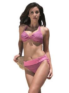 codice promozionale 8c69f 619f4 Dettagli su Costume donna Bikini ferretto slip vita alta regolabile con  fascia Portland