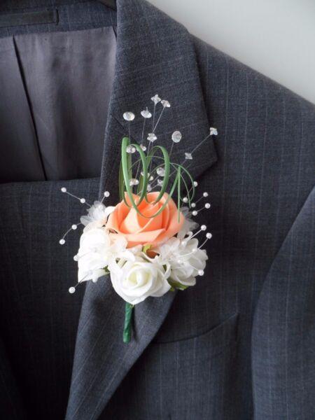 1 Deep Peach & Ivory Rose Bouquet Nozze Fiori Artificiali
