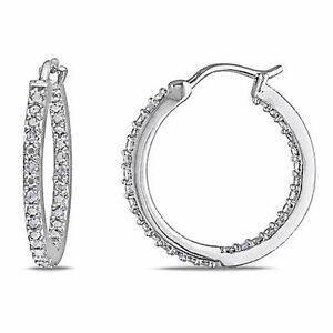 Sterling-Silver-1-4-Ct-Diamond-TDW-Hoop-Earrings-J-K-I2-I3
