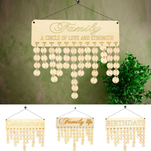 Details about  /Wood Birthday Reminder Wood Plaque Board Sign Family DIY Calendar Home Decor