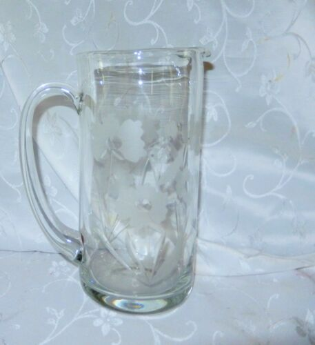 Pretty Clear Glass Pitcher with Etched Floral Designs 2 Qt