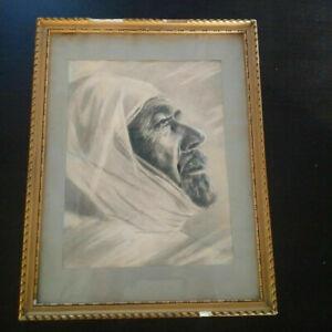 Rare-grand-portrait-orientaliste-homme-arabe-Maghreb-fusain-et-pastel-XIXeme