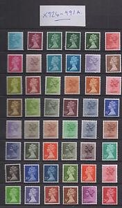 X924-X991a. Set x 69 Harrison phosphor paper Machins. Unmounted mint. FREEPOST!