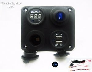 Socket Panel Outlet Wires Blue Voltmeter 12V or 24 Volt Triple USB Charger