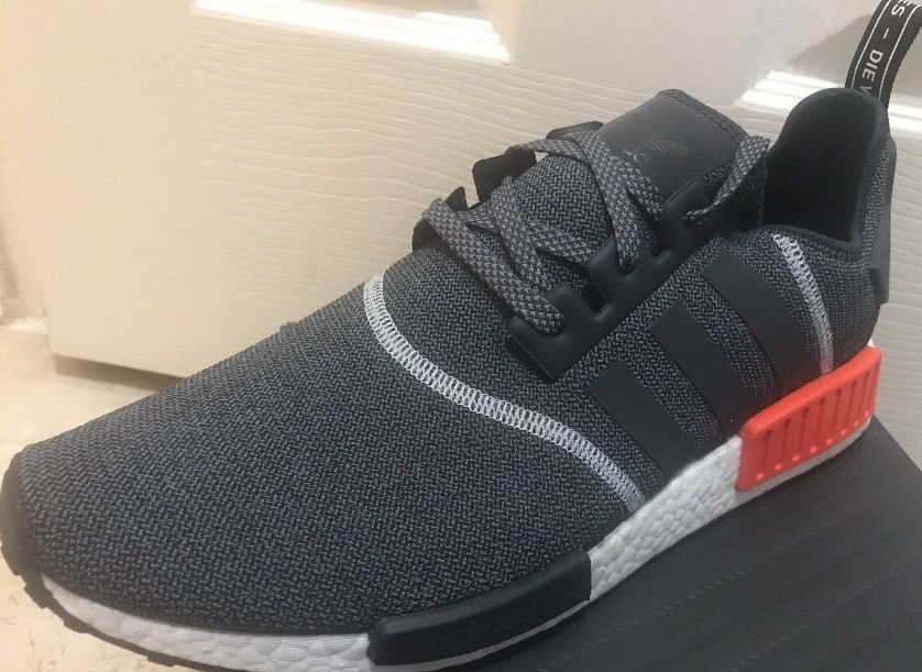 New Adidas NMD R1 Grey Red Wool 3M Reflective S31510 Men's Size 12 OG Infrared